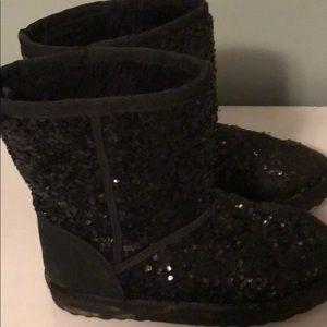 Girls sequin black boots size 2, Children's Place